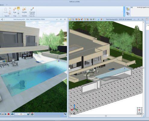 Vista 3D e sezione piscina Park House