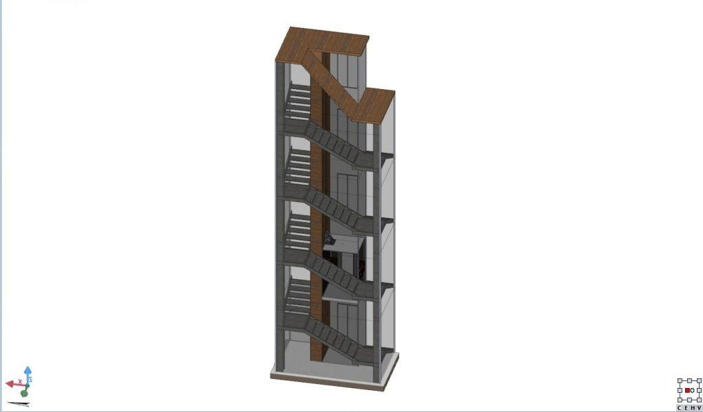 Realizzazione di una scala in acciaio e vetro con un - Costo ascensore interno 3 piani ...