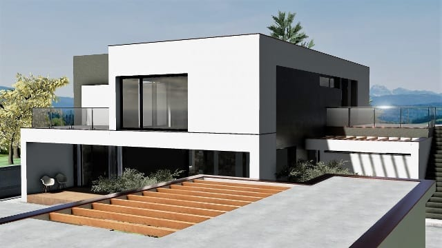 C-House vista esterna patio_Edificius_BIM