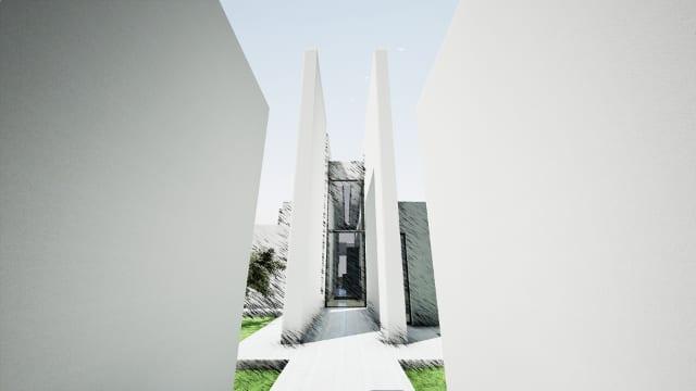 Render Camarines software BIM Edificius - ingresso con effetto artistico