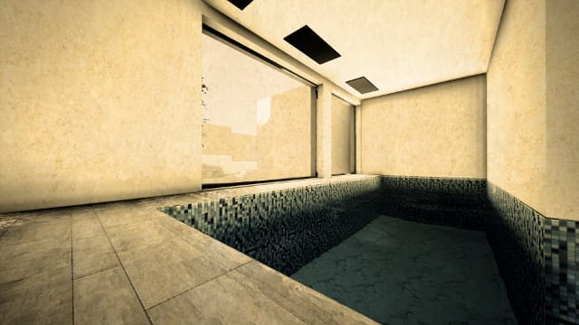 Render Camarines software BIM Edificius - piscina con effetto artistico