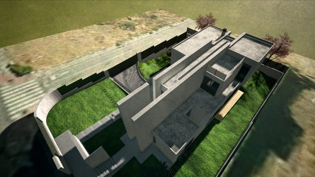 Render Camarines software BIM Edificius - vista dall'alto con effetto artistico