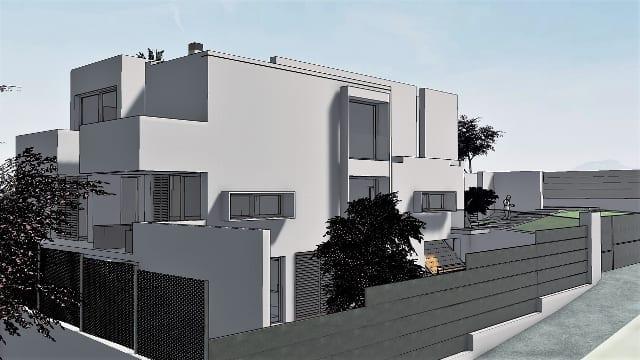 Render Camarines software BIM Edificius - vista esterna e recinzione con effetto artistico