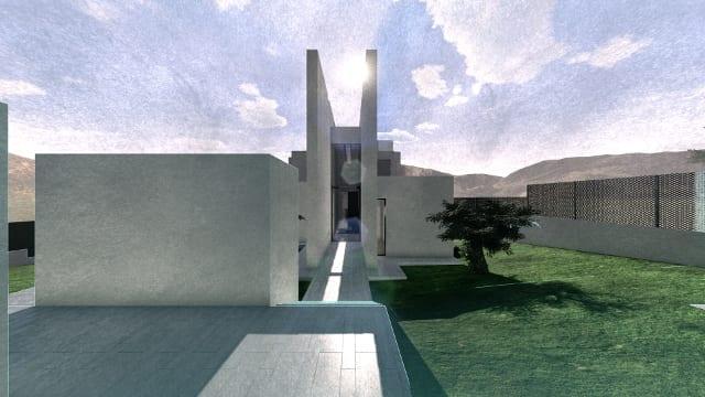 Render Camarines software BIM Edificius - vista frontale ingresso con effetto artistico