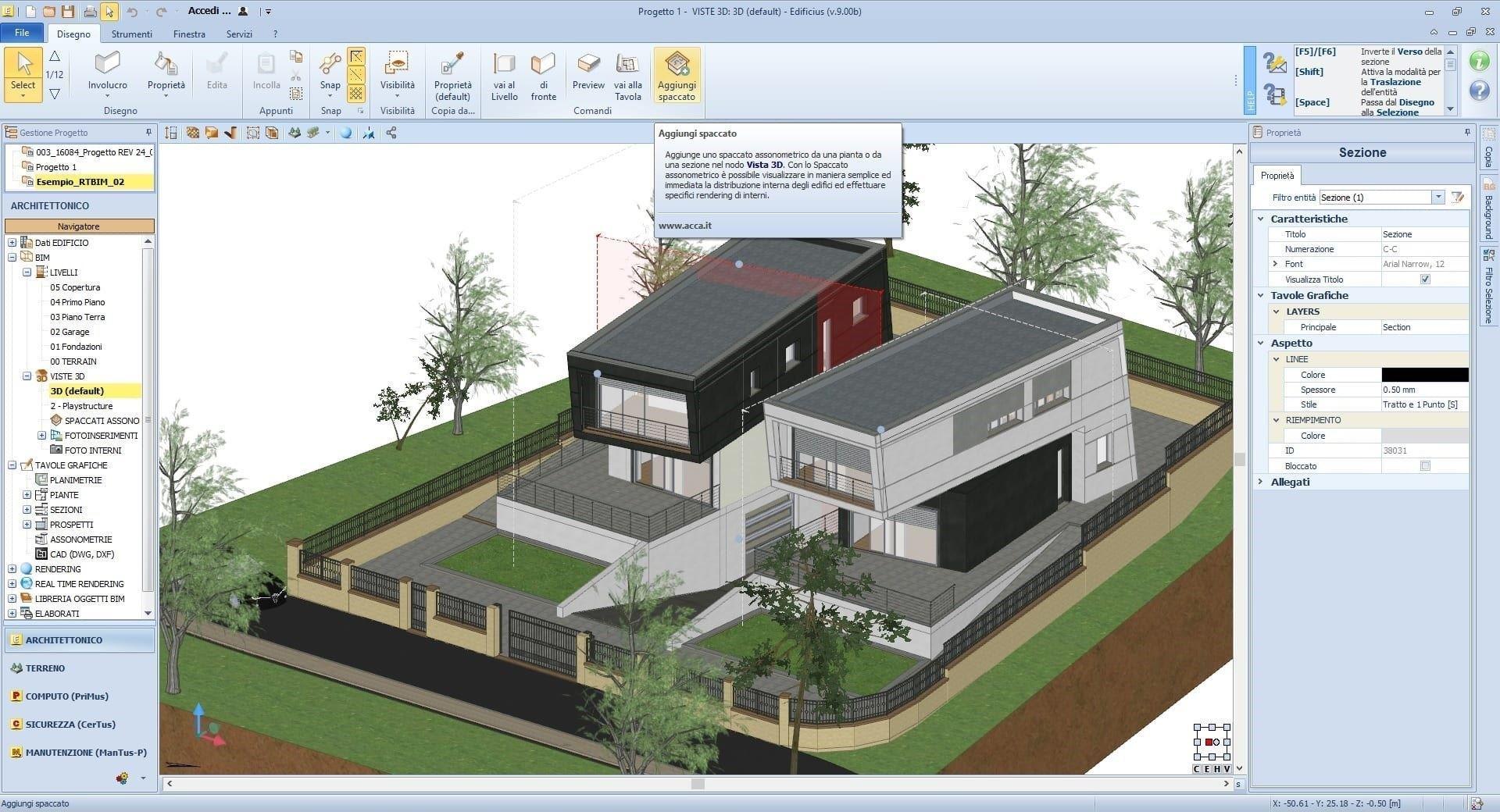Creare uno spaccato assonometrico con un software bim for Programma per 3d interni
