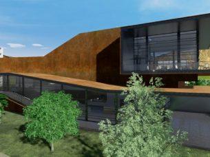 Vista laterale Daegu Gosan Public Library con Edificius