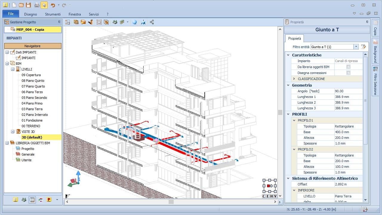 Visualizzazione architettonica e MEP di un modello BIM Edificius-MEP