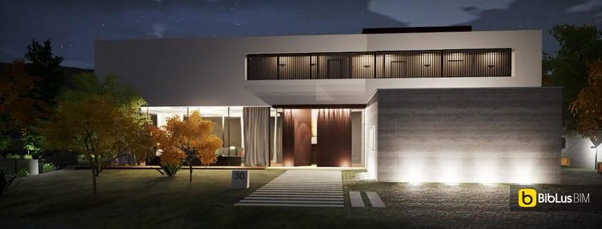 Progettare l 39 illuminazione esterna di un edificio con un software bim il progetto casa en los - Illuminazione ingresso casa ...
