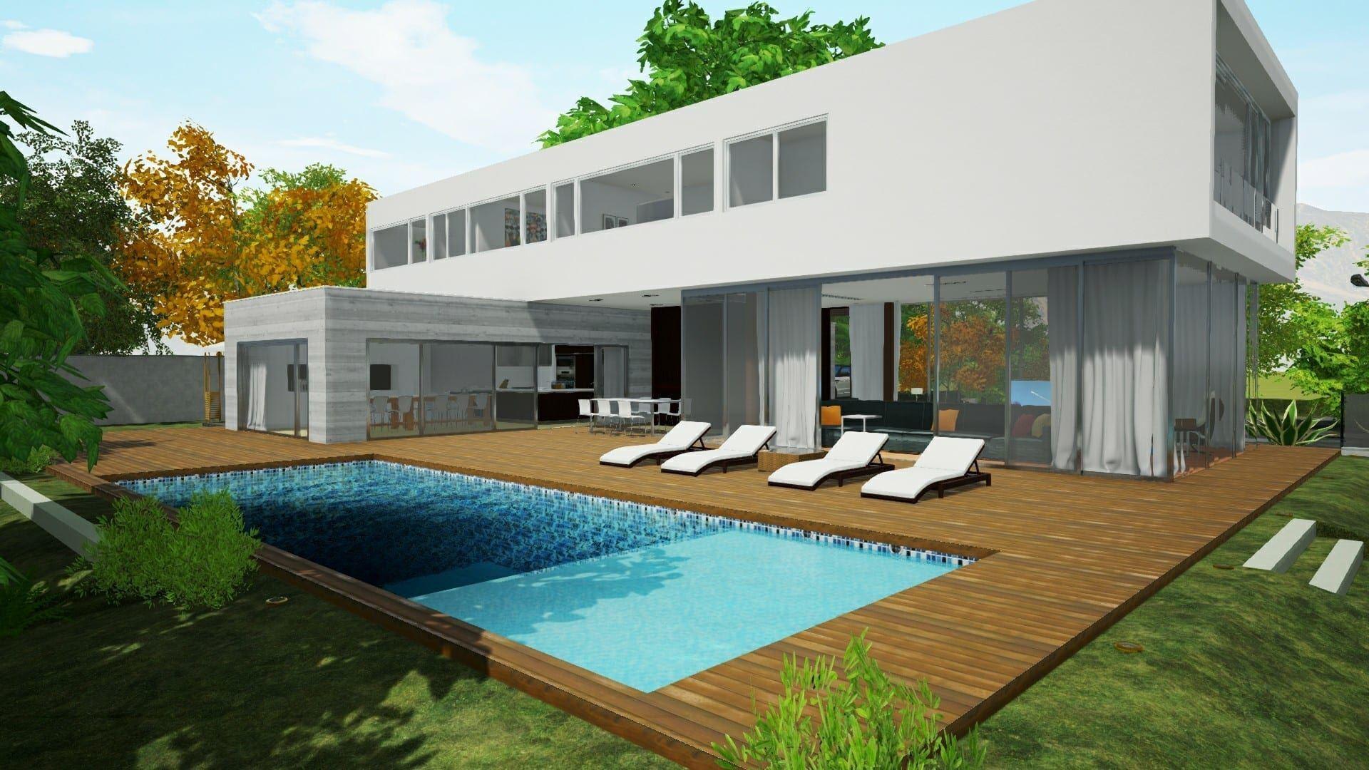 Modellare una piscina a profondit variabile con un - Piscina fuori terra in pendenza ...