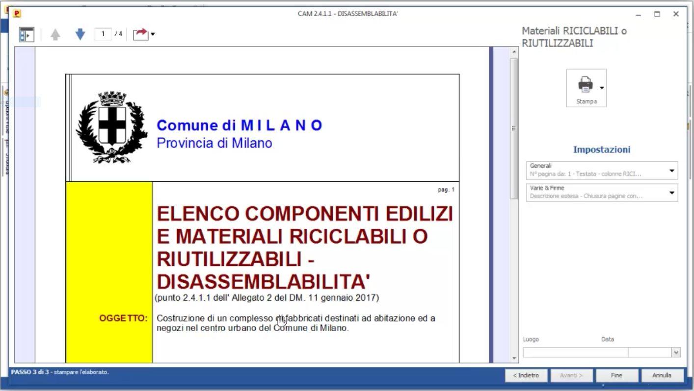 Stampa elaborato Elenco componenti edilizi e materiali riciclabili o riutilizzabili