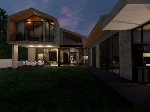 Vista notturna del giardino interno_software BIM_Edificius