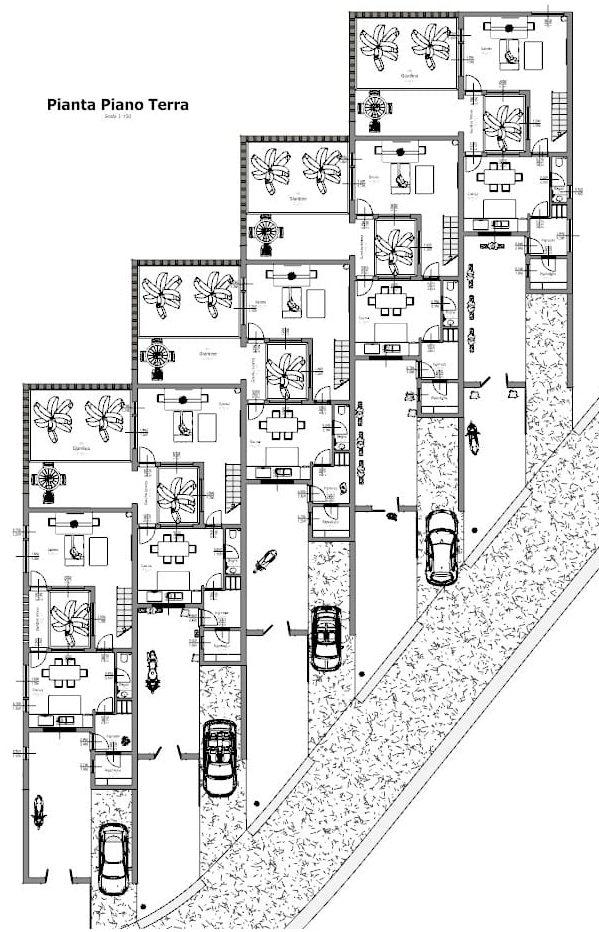 Progetti di case a schiera con patio o giardino esempi e for Progetto piano terra