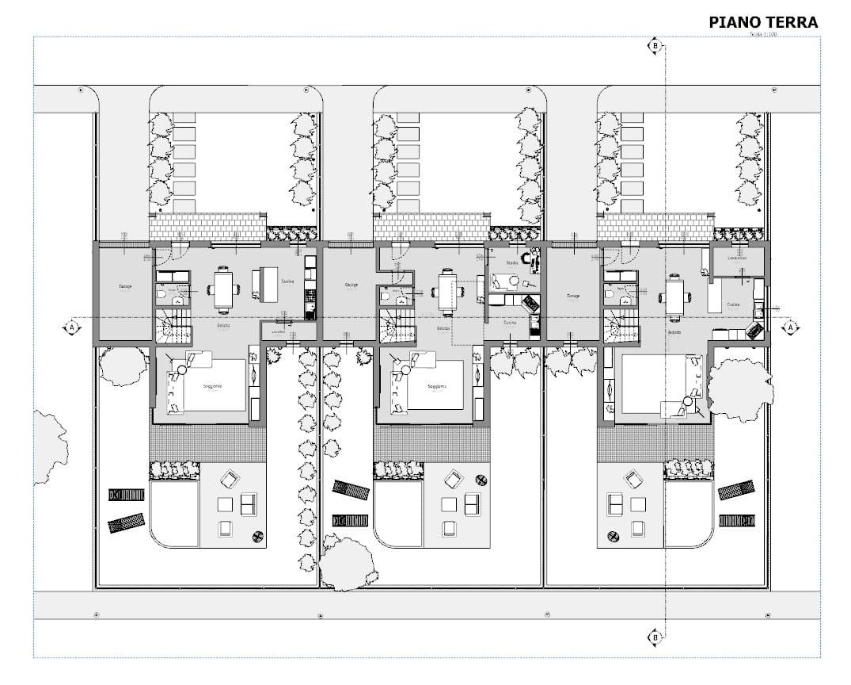 Progetti di case a schiera con patio o giardino esempi e for Pianta villetta a schiera