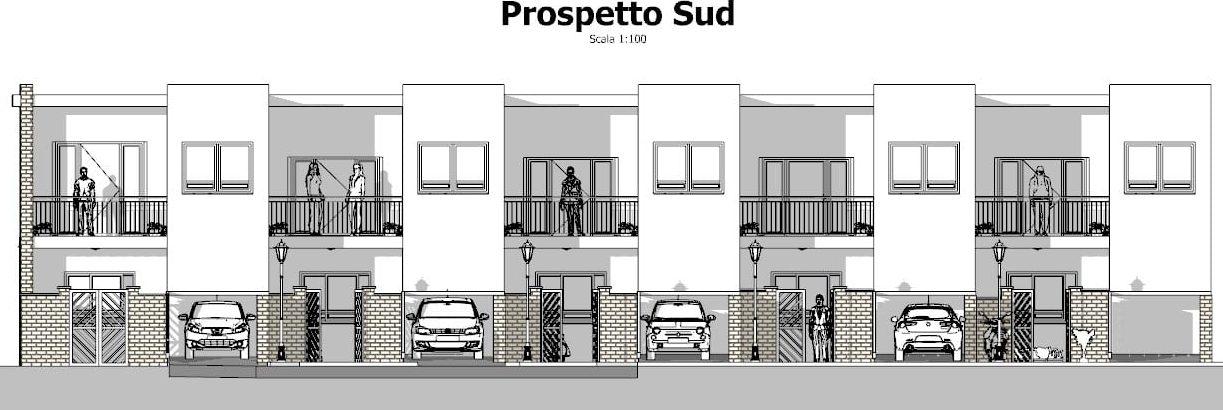 Progetti di case a schiera con patio o giardino esempi e for Piani sud ovest della casa con cortile
