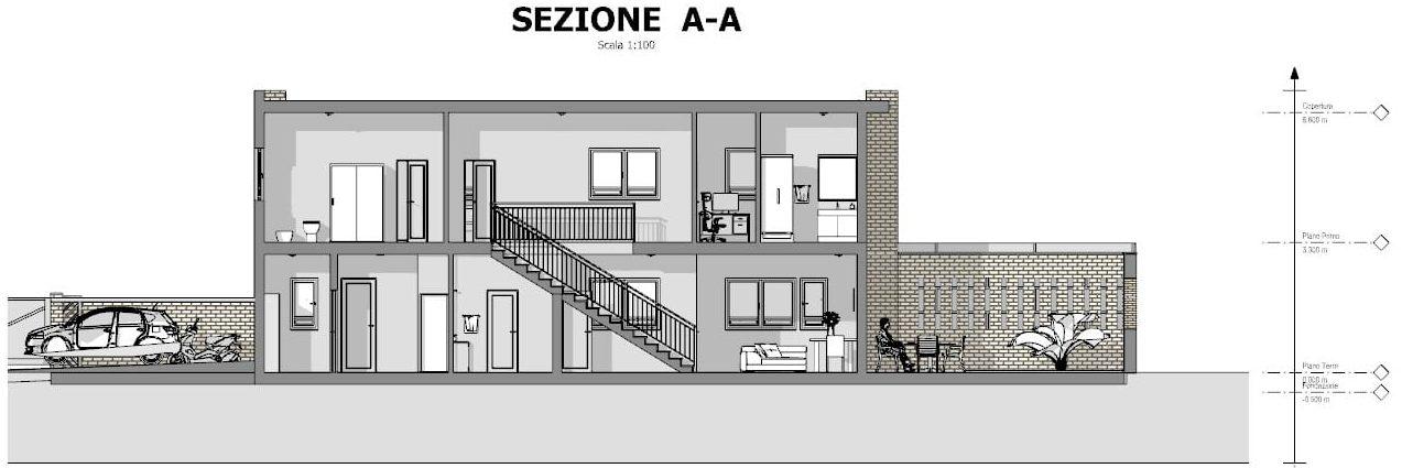 Progetti di case a schiera con patio o giardino esempi e - Casa unifamiliare dwg ...