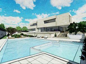 Render piscina con effetto grafico_software BIM architettura Edificius