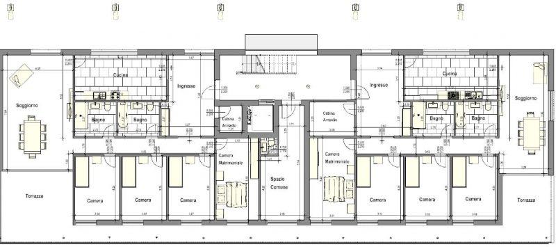 case in linea dwg - complesso residenziale Brunnenhof - pianta - particolare