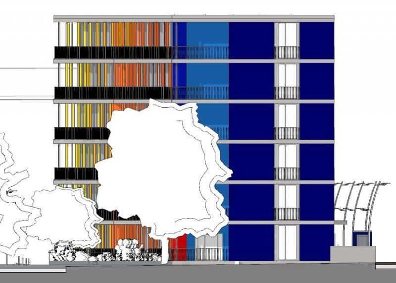 case in linea dwg - complesso residenziale Brunnenhof - prospetto