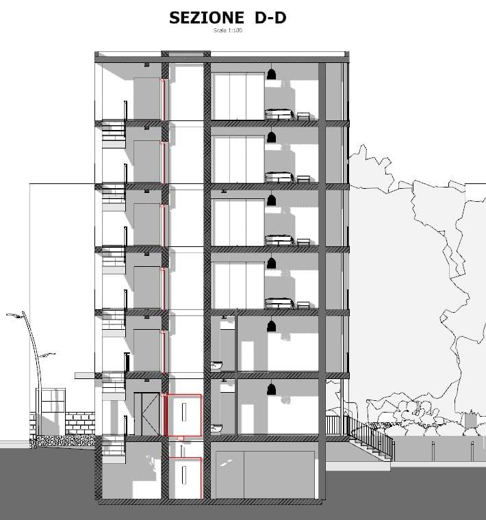 case in linea dwg - complesso residenziale Brunnenhof - sezioni