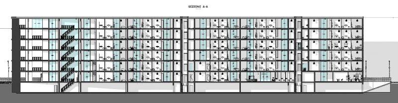 case in linea dwg - complesso residenziale Brunnenhof - sezione A
