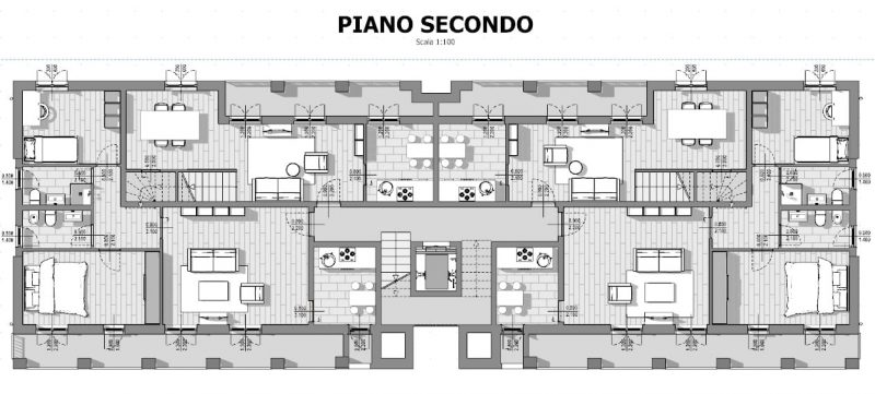 Case in linea progetti e esempi con piante planimetrie - Disegno pianta casa ...