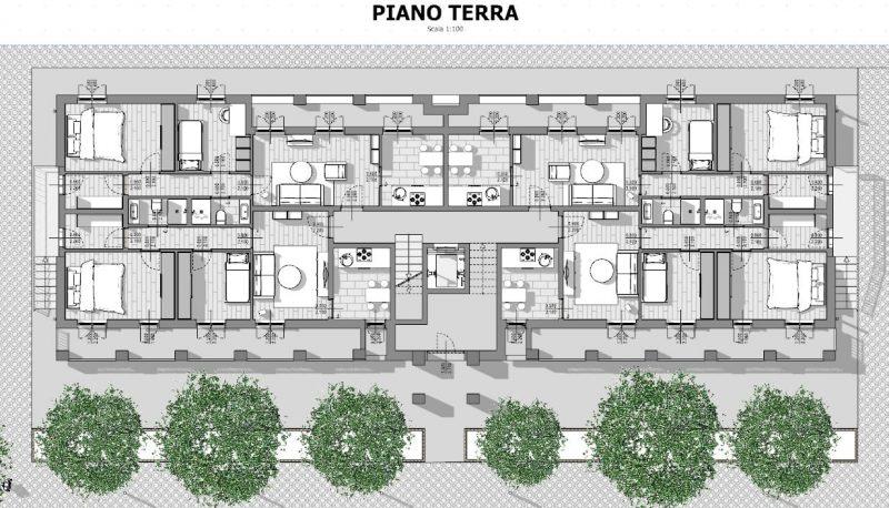 Case in linea milano pianta piano terra biblus bim for Piante di case moderne