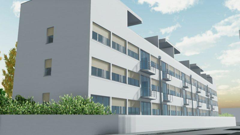 case in linea - Weissenhof, opera di Mies van der Rohe - rendering