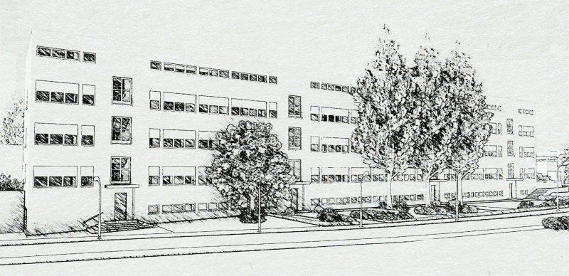 case in linea - Weissenhof, opera di Mies van der Rohe - schizzo