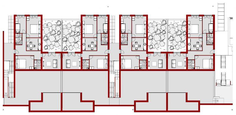 case in linea Villaggio Matteotti - De Carlo - pianta piano terra
