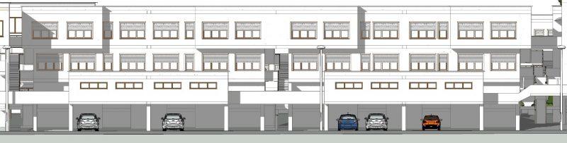 case in linea Villaggio Matteotti - De Carlo - prospetto