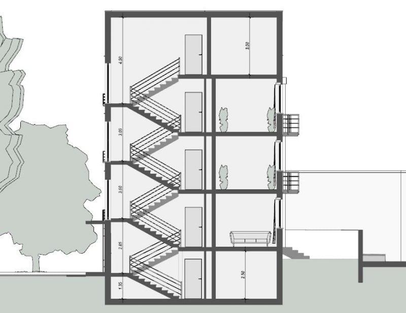 case in linea a Weissenhof - Mies van der Rohe - sezione