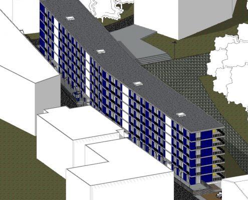case in linea dwg - complesso residenziale Brunnenhof - assonometria