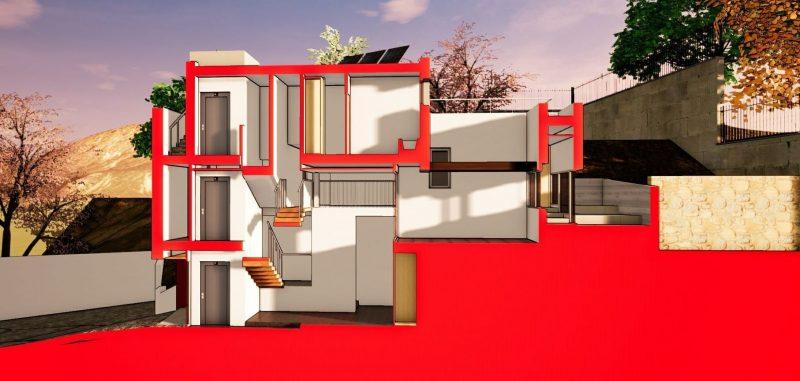 progetti di case unifamiliari spaccato assonometrico