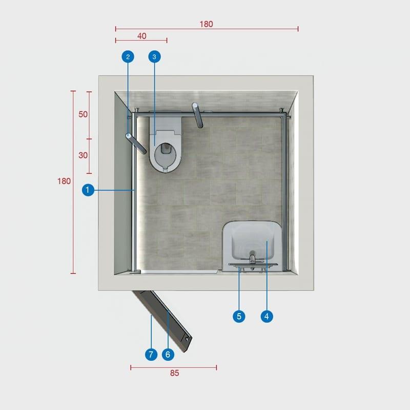 Misure minime bagno disabili con antibagno - Misure bagno minimo ...