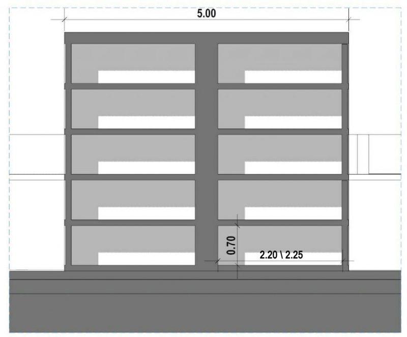 progetto di loculi cimiteriali - tipologie - Disposizione a colombario su due lati-SEZIONE