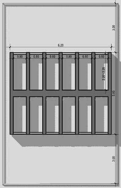 progetto di loculi cimiteriali - tipologie - Disposizione a colombario su due lati