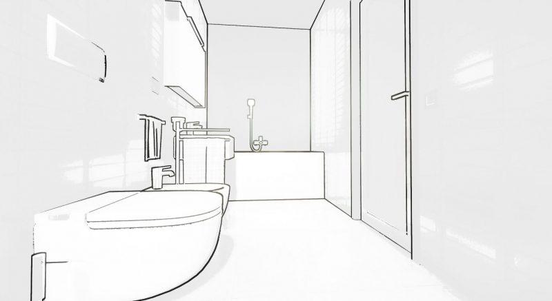 progettare un bagno - schizzo