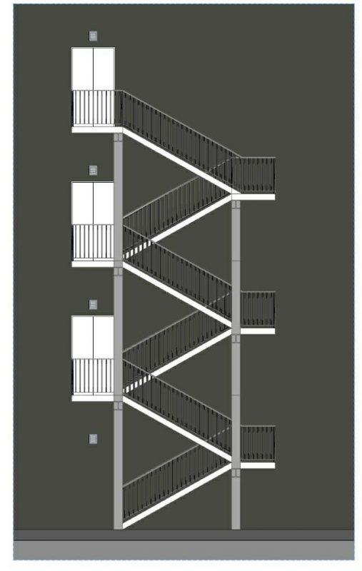 progettazione scale antincendio - Immagine del prospetto di una scale antincendio