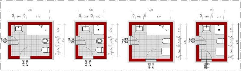 Progettare un bagno - schemi di bagni