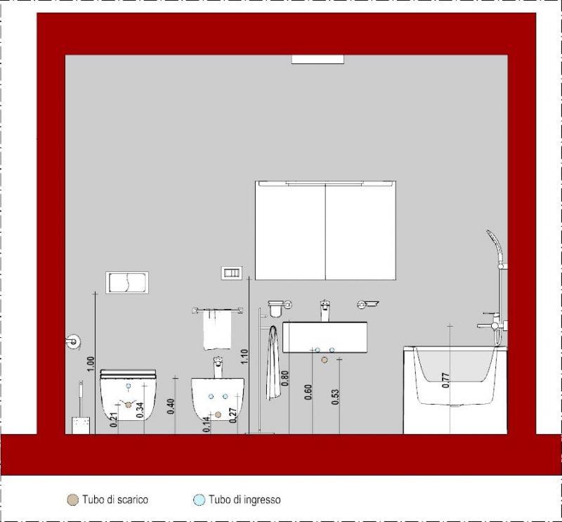 Progettare un bagno - schemi di bagni - sezione