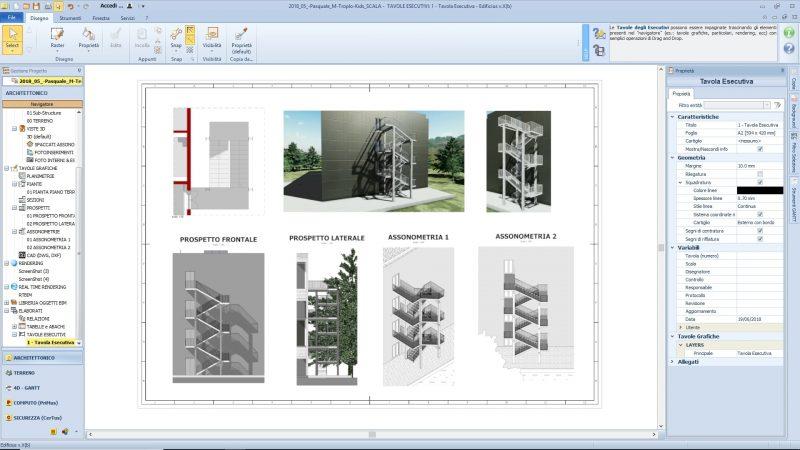 progettazione scale antincendio - tavole esecutivo