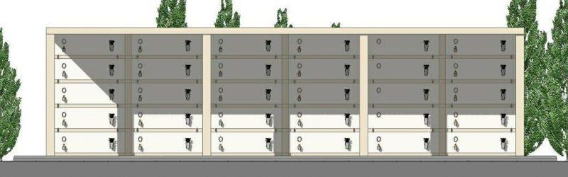 progetto di loculi cimiteriali - prospetto