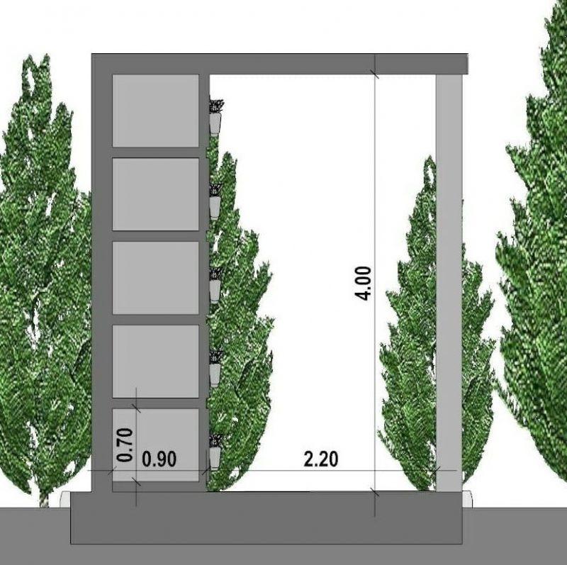 progetto di loculi cimiteriali - sezione-tipo
