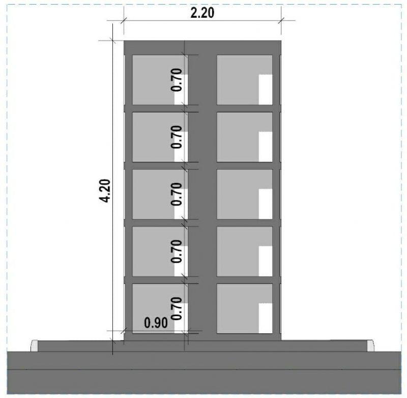 progetto di loculi cimiteriali - tipologie - Disposizione a cantera su due lati-SEZIONE