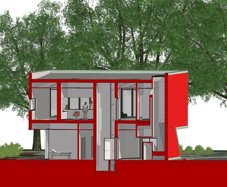 progettazione strutture sanitarie - spaccato assonometrico