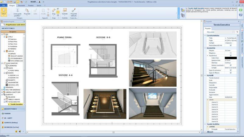 progettazione scale interne tavola esecutiva