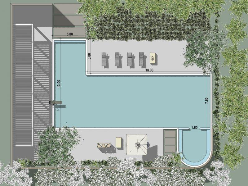 progetto piscina - piscina relax con misure