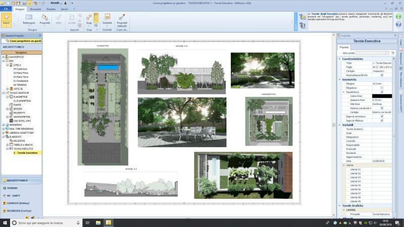 come progettare un giardino - tavola esecutiva
