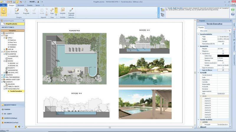 progetto piscina - Tavola esecutiva