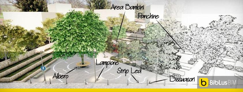 Progetto di arredo urbano criteri ed esempi biblus bim for Progetto arredo